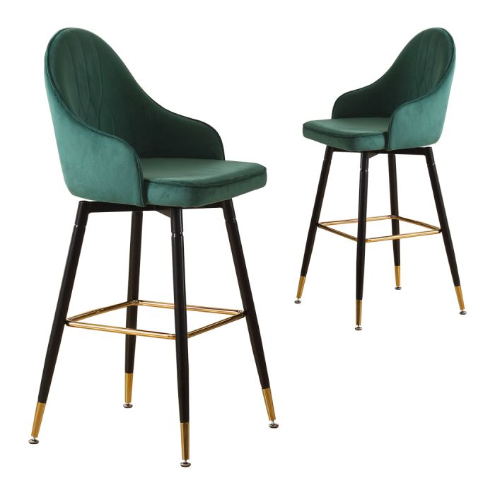 2x bar stools stool kitchen chairs swivel velvet barstools